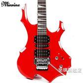 百貨週年慶-名森Minsine白藍紅黑色火焰電吉他雙搖電吉它wy