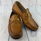 BRAND楓月 GUCCI 古馳 黃咖色 牛皮 皮革 皮質 樂福鞋 皮鞋 懶人鞋 #6.5
