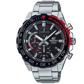 【CASIO】 EDIFICE 超搶眼跳色齒輪錶框不鏽鋼錶-黑X紅(EFR-566DB-1A)