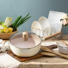 錘紋麥飯石雪平鍋-象牙白
