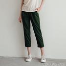 【GIORDANO】 女裝素色鬆緊腰休閒九分褲 - 51 海帶綠