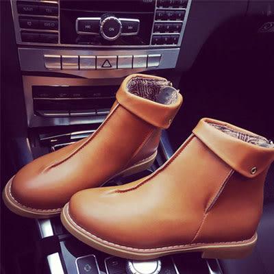 短靴 韓國熱賣翻領圓頭後拉鍊短靴【S1416】☆雙兒網☆
