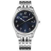 SEIKO 精工 / 6N42-00K0B.SUR301P1 / 簡約時尚 數字刻度 藍寶石水晶玻璃 日期 不鏽鋼手錶 藍色 39mm