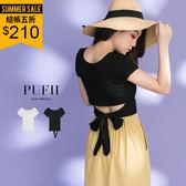 (現貨-白)PUFII-T恤 後綁帶腰鏤空圓領純色T恤上衣 2色 0531 現+預 夏【ZP14713】