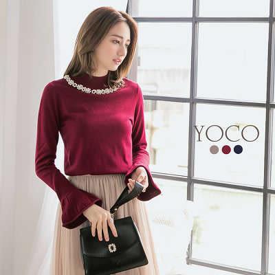 東京著衣【YOCO】法國女孩多色珍珠領喇叭袖針織衫-S.M.L(172412)