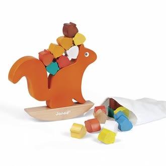 【法國Janod】經典設計木玩-貪吃的松鼠 J08126 /組