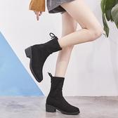 短靴女 馬丁靴 秋冬圓頭粗跟新款瘦瘦靴襪子靴百搭彈力中跟韓版女鞋子《小師妹》sm3218