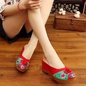 新款拼色中國風繡花鞋 老北京布藝拖鞋高坡跟厚底涼拖鞋女鞋夏