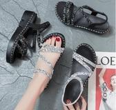 女士中跟涼鞋2020新款時尚百搭平底鞋子女網紅仙女風厚底夏季女鞋 OO11244『黑色妹妹』
