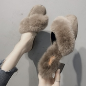 半拖鞋 毛毛拖鞋女外穿2019秋冬新款粗跟高跟包頭半拖鞋ins潮百搭穆勒鞋 免運 艾維朵
