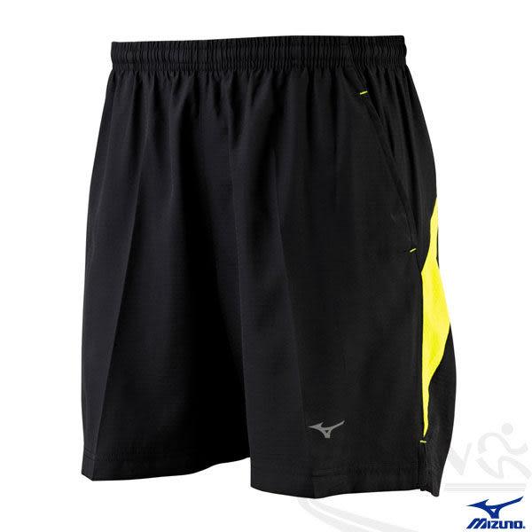 MIZUNO 美津濃 路跑褲(黑*黃) 四分慢跑馬拉松短褲 口袋設計 反光燙印 2014新款