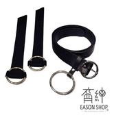 EASON SHOP(GW3421)實價韓版簡約百搭純色時尚大環圈鐵圈裝飾可調式Pu皮寬腰帶針扣皮帶不敗款黑色