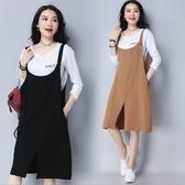 漂亮小媽咪 棉麻 洋裝 【D3329】 純色 簡約 細肩 吊帶裙 孕婦裝 背心裙