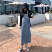 牛仔洋裝牛仔連身裙女法式復古2021秋冬季新款顯瘦背帶減齡氣質中長款裙子 伊蒂斯
