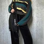 簡約原創束口袋抽繩袋飄帶雙肩包可單肩大容量防水健身包旅行袋潮 『CR水晶鞋坊』