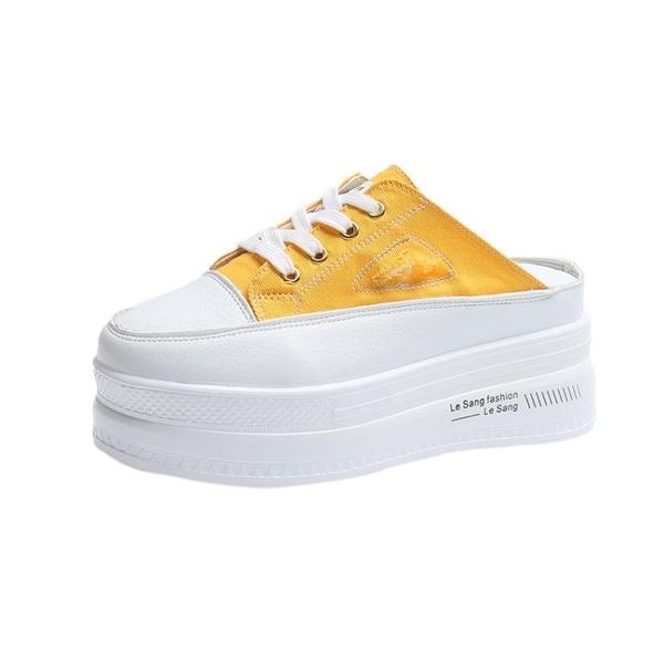 厚底半拖鞋拖鞋女外穿新款潮鞋厚底增高小個子半拖帆布鞋夏季鬆糕后跟拖  迷你屋 618狂歡