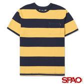 SPAO男款圓領寬條紋短袖T恤-共4色