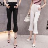 黑色七分褲女外穿薄款夏季高腰顯瘦彈性7分蕾絲拼接打底微喇叭褲 優帛良衣