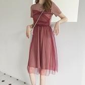 短袖洋裝-網紗拼接高腰圓領連身裙2色73xk18[時尚巴黎]