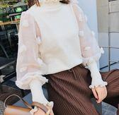 SHINE KOREA  新款網紗袖花朵針織上衣