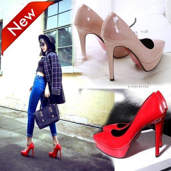 超高跟12cm女鞋子歐美秋季新款尖頭防水台細跟女鞋子單鞋紅色婚鞋 依夏嚴選
