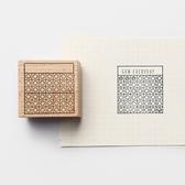 【BlueCat】方框圓標週曆木頭印章 手帳印章 橡皮印章 (8x40mm)