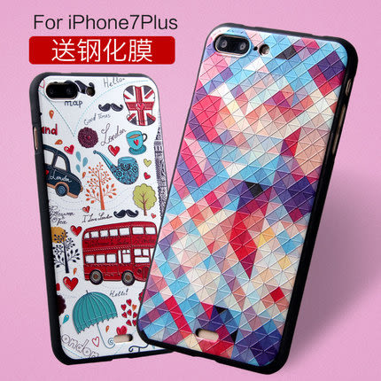 蘋果 Iphone 7plus MyColor 女款 3D立体浮雕硅胶保护软壳  Iphone7保護套新款簡約卡通可愛軟殼