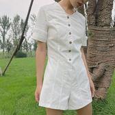 連身褲 chic短褲  白色 t恤 連衣褲