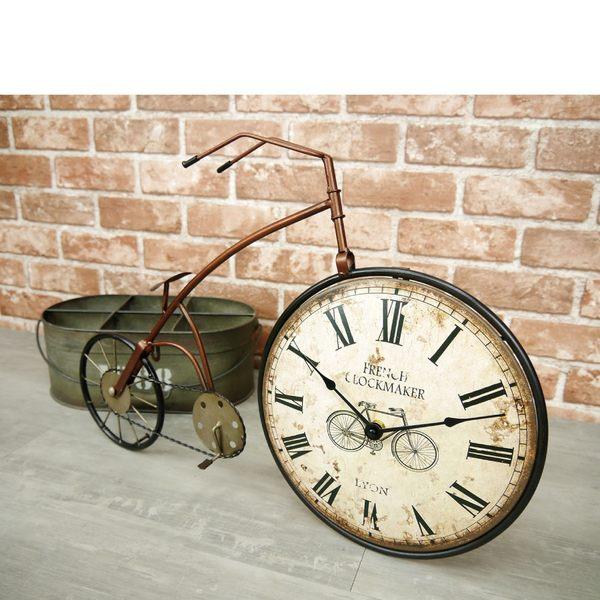 掛鐘 復古工業風大型鐵皮藝術腳踏車造型時鐘 自行車模型 懷舊風格 牆面櫥窗擺飾鐘-米鹿家居