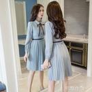 洋裝 新款韓版氣質小香風長袖流行雪紡洋裝春秋季a字打底裙子潮 交換禮物