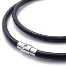 《 QBOX 》FASHION 飾品【L10021146】精緻個性黑色光滑面真皮革鈦鋼磁扣式項鍊子/黑皮繩