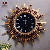 太陽花掛鐘歐式家居創意裝飾品客廳臥室壁鐘時尚藝術掛表wy