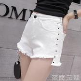 網紅白色高腰牛仔短褲女夏季百搭a字寬鬆顯瘦寬管彈力熱褲女 至簡元素