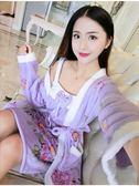 睡袍睡裙女秋冬季珊瑚絨長款睡袍兩件套卡通可愛法蘭絨加厚睡衣家居服 喵小姐