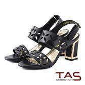 ★↘5 折 ★TAS 幾何雷射雕花金屬方跟涼鞋-深邃黑