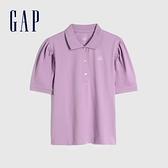 Gap女裝 Logo亮色泡泡袖POLO衫 740757-丁香紫