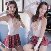 情趣內衣紅格子短裙學生裝彈力緊身女傭制服透視裝夜店激情用品