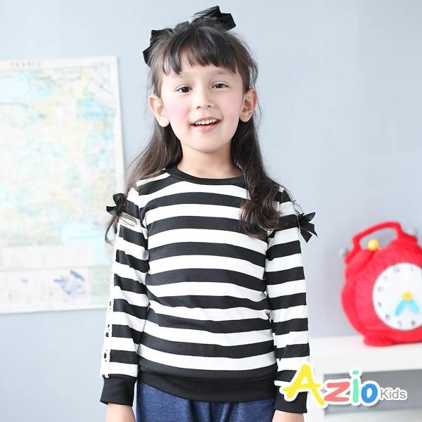 Azio女童 上衣 蕾絲蝴蝶結緞帶袖條紋圓領長袖上衣(黑) Azio Kids 美國派 童裝