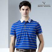 【Emilio Valentino】范倫鐵諾海洋風條紋休閒POLO衫_藍/黃