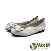W&M 方頭葉形銀釦娃娃鞋平底鞋女鞋 -灰米色(另有黑)