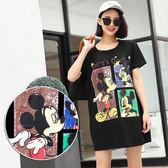 BOBO小中大尺碼【2737】寬版卡通鼠三格漫畫長版短袖T恤洋裝