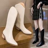 2021年新款春秋單靴網紅不過膝V口高筒長靴女尖頭粗跟騎士馬丁靴3C數位百貨