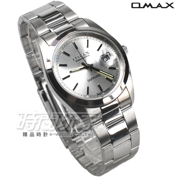 OMAX 時尚城市圓錶 銀色不銹鋼帶 藍寶石水晶 男錶 日期視窗 OM4003銀大
