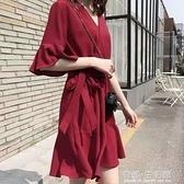 法式新款溫柔風超仙復古桔梗紅色雪紡洋裝子女夏季顯瘦魚尾長裙 有緣生活館