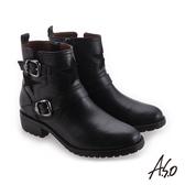 A.S.O 異材質拼接 星星圖示簡約低跟靴