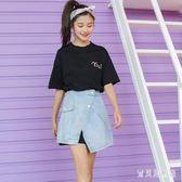 2018夏新款T恤牛仔半身裙套裝時尚衣服學生女 BF4828『寶貝兒童裝』