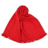 HERMES 經典素色logo羊絨混絲披肩圍巾(紅色)179148