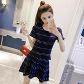 中大碼兩件式洋裝 中大尺碼胖mm連身裙夏季韓版短袖針織T恤時尚套裝修身A字短裙 HT20155
