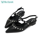 Bo Derek 英倫龐克風平底涼鞋-黑色