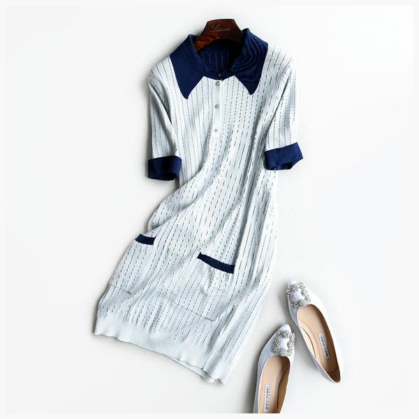 [超豐國際]Z 英式調調~~豎條紋 冰麻 雙面針織連衣裙 7